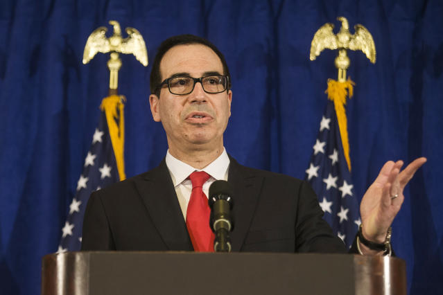Treasury Secretary Steven Mnuchin speaks at a press briefing at the Hilton Midtown hotel during the United Nations General Assembly, in New York, Thursday, Sept. 21, 2017. (AP Photo/Andres Kudacki)