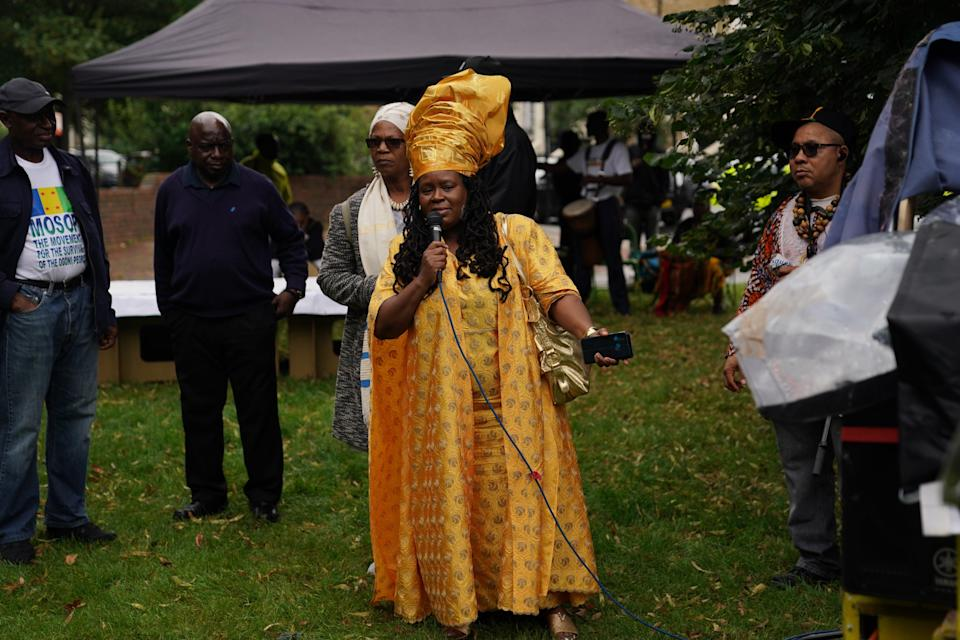 Esther Stanford-Xosei speaks at the Emancipation Day gathering at Max Roach Park in Brixton (Steve Parsons/PA) (PA Wire)