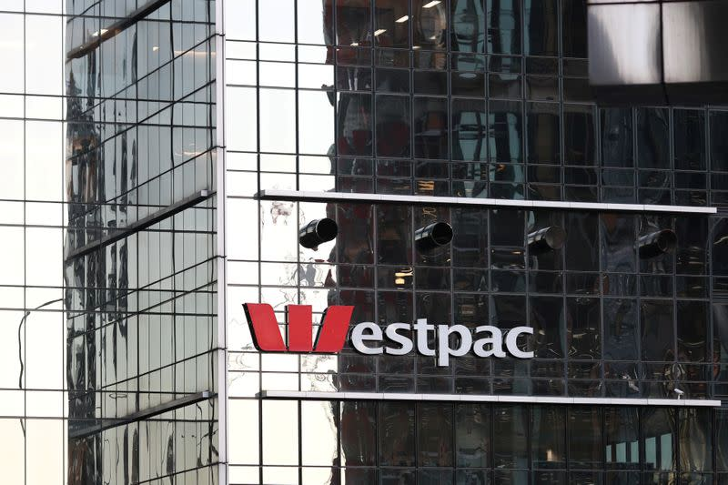 FILE PHOTO: An office building with the logo of Westpac Banking is seen in Sydney