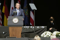 Former President George W. Bush speaks during a memorial for the passengers and crew of United Flight 93, Saturday Sept. 11, 2021, in Shanksville, Pa., on the 20th anniversary of the Sept. 11, 2001 attacks, as Vice President Kamala Harris looks on, right. (AP Photo/Jacquelyn Martin)