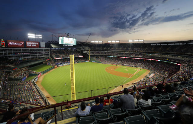 The Oakland Athletics play the Texas Rangers in the second inning of a baseball game at Globe Life Park in Arlington, Texas, Friday, Sept. 13, 2019. (AP Photo/Tony Gutierrez)