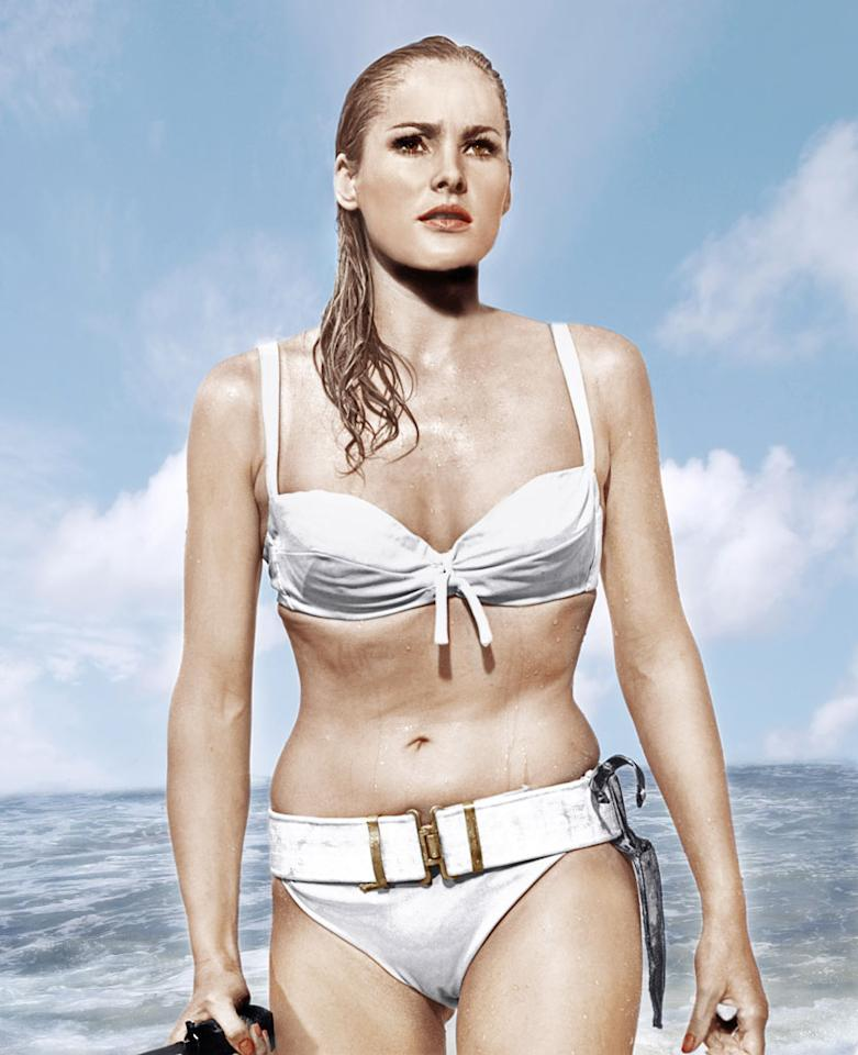 HONEY RYDER   MOVIE: Dr. No  ACTRESS: Ursula Andress  ALLEGIANCE: Independent seashell enthusiast.  LAST SEEN: Making out with Bond in a lifeboat.  SPECIAL SKILLS: Good with a knife. Looks great in white bikini.