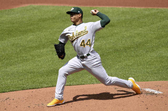 Oakland Athletics starting pitcher Jesus Luzardo (44) throws against the Baltimore Orioles in the first inning of a baseball game, Sunday, April 25, 2021, in Baltimore. (AP Photo/Will Newton)