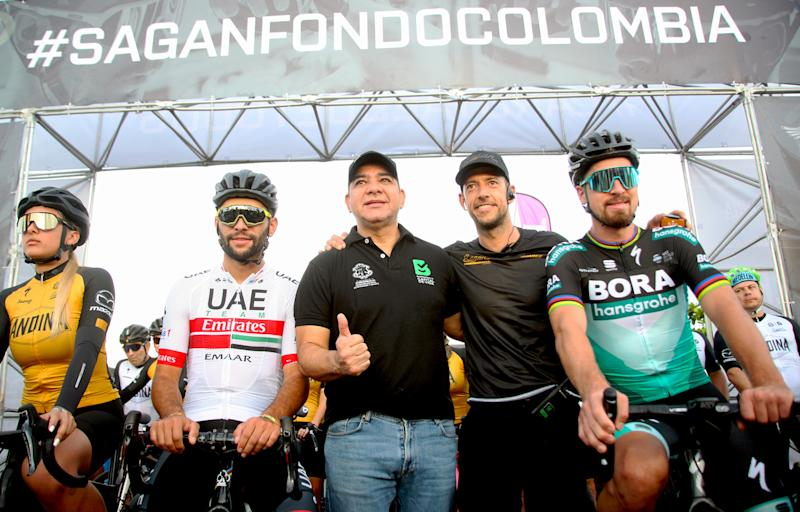 Fernando Gaviria and Peter Sagan were out bright and early for the 6AM start of the Sagan Fondo Colombia