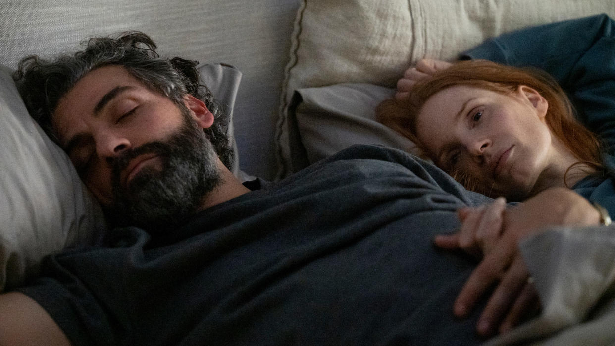 Oscar Isaac and Jessica Chastain star in miniseries remake 'Scenes From a Marriage'. (Jojo Whilden/HBO/Sky)