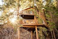 """<p>airbnb.com</p><p><strong>$345.00</strong></p><p><a href=""""https://www.airbnb.com/rooms/5839043"""" rel=""""nofollow noopener"""" target=""""_blank"""" data-ylk=""""slk:BOOK NOW"""" class=""""link rapid-noclick-resp"""">BOOK NOW</a></p><p>Raised above a cattle creek, this historic treehouse, built in 1971, has been upgraded to feature a full kitchen, rock shower and wood burning stove.</p><p>Tucked into a quiet corner of the Rocky Mountain, the home is steps from plenty of hiking trails and activities.</p>"""