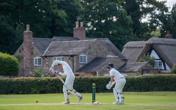 Players in action during an intra club match at Newtown Linford Cricket Club, Leicestershire - Joe Giddens/PA