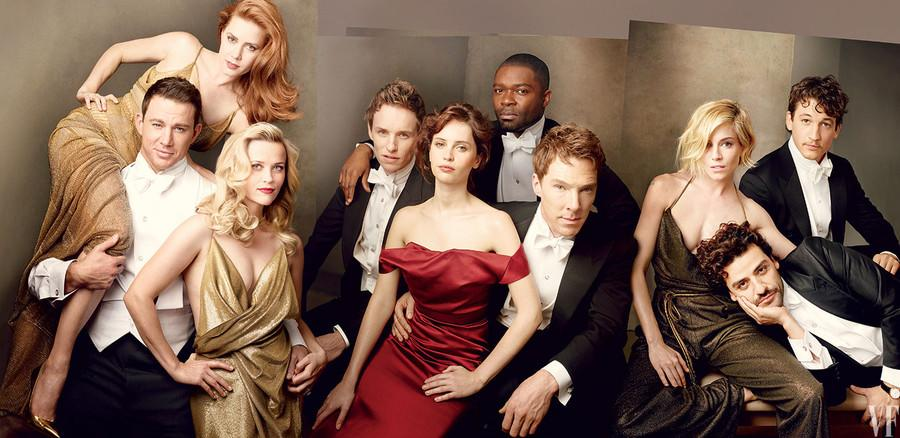 <p>2015 was an intimate mix of actors and actresses. Starring Amy Adams, Channing Tatum, Reese Witherspoon, Eddie Redmayne, Felicity Jones, David Oyelowo, Benedict Cumberbatch, Sienna Miller, Oscar Isaac and Miles Teller. <br /><i>[Photo: Vanity Fair]</i> </p>