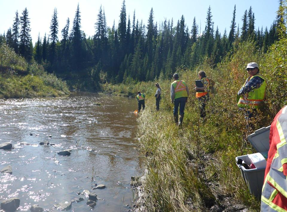 "<span class=""caption"">Community members from Blueberry River First Nations collect STREAM samples in Fort St. John, B.C.</span> <span class=""attribution""><span class=""source"">(Raegan Mallinson/Living Lakes Canada)</span>, <span class=""license"">Author provided</span></span>"