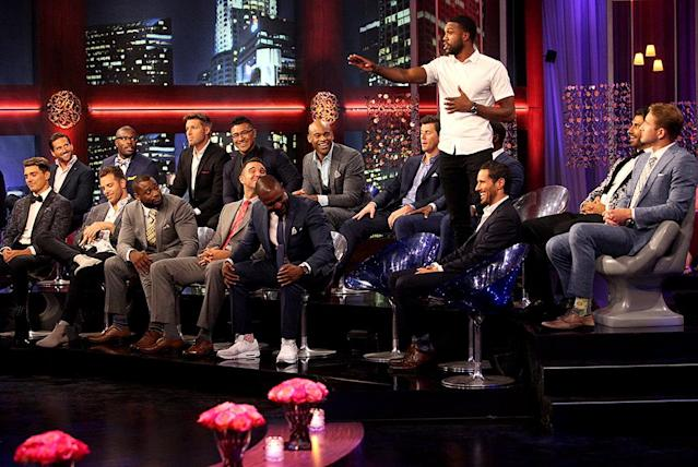 <p>Dean, Jamey, Adam, Kenneth, Kenny, Brady, Iggy, Matthew, Will, Anthony, Lucas, Demario, Jack, Alex and Jonathan in ABC's <i>The Bachelorette</i>. <br>(Photo: Paul Hebert/ABC) </p>