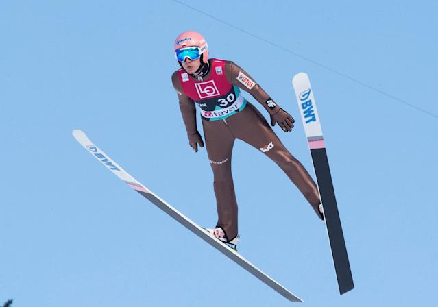 Ski Jumping - FIS World Cup - Men's HS240 Qualification - Vikersund, Norway - March 16, 2018 Dawid Kubacki of Poland in action. Terje Bendiksby/NTB Scanpix/via REUTERS ATTENTION EDITORS - THIS IMAGE WAS PROVIDED BY A THIRD PARTY. NORWAY OUT.