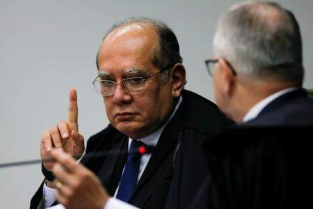 Judge Gilmar Mendes attends a session of the Supreme Court in Brasilia