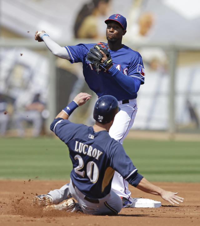 Milwaukee Brewers' Jonathan Lucroy is forced out at second as Texas Rangers' Jurickson Profar throws to first for a double play during the first inning of a spring exhibition baseball game Friday, March 21, 2014, in Surprise, Ariz. (AP Photo/Darron Cummings)