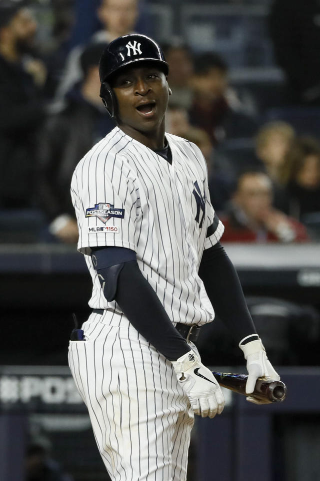 New York Yankees' Didi Gregorius reacts after striking out against the Houston Astros during the seventh inning in Game 5 of baseball's American League Championship Series Friday, Oct. 18, 2019, in New York. (AP Photo/Matt Slocum)