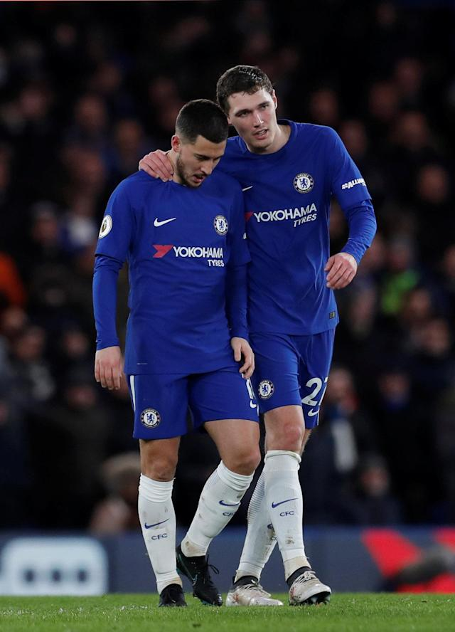 "Soccer Football - Premier League - Chelsea vs West Bromwich Albion - Stamford Bridge, London, Britain - February 12, 2018 Chelsea's Eden Hazard celebrates scoring their third goal with Andreas Christensen Action Images via Reuters/Andrew Couldridge EDITORIAL USE ONLY. No use with unauthorized audio, video, data, fixture lists, club/league logos or ""live"" services. Online in-match use limited to 75 images, no video emulation. No use in betting, games or single club/league/player publications. Please contact your account representative for further details."