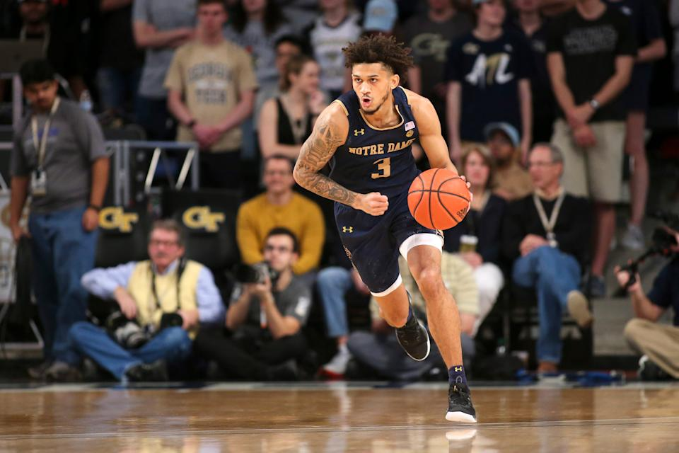 Jan 15, 2020; Atlanta, Georgia, USA; Notre Dame Fighting Irish guard Prentiss Hubb (3) dribbles against the Georgia Tech Yellow Jackets in the first half at McCamish Pavilion. Mandatory Credit: Brett Davis-USA TODAY Sports
