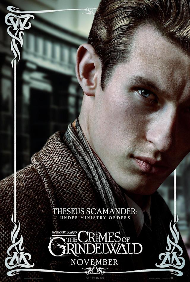 Callum Turner as Theseus Scamander on his <i>Fantastic Beasts and the Crimes of Grindelwald</i> character poster. (Warner Bros.)