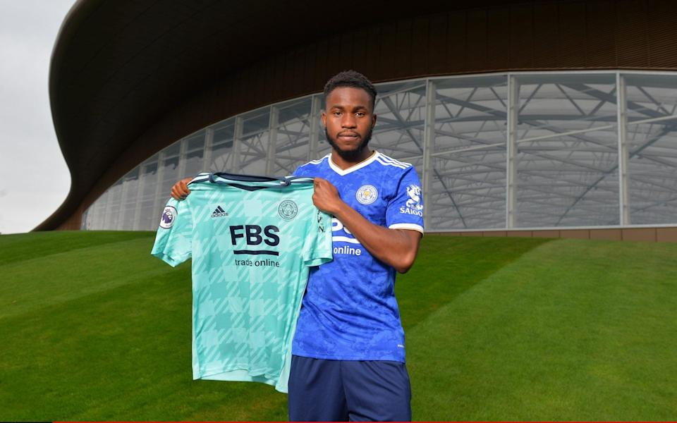 Leicester City unveil new signing Ademola Lookman at Leicester City Training Ground on August 31, 2021 in Seagrave, - Plumb Images/Leicester City FC via Getty Images