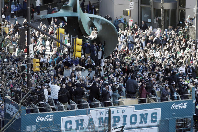 The Eagles and their fans celebrated their Super Bowl win Thursday. (AP Photo)