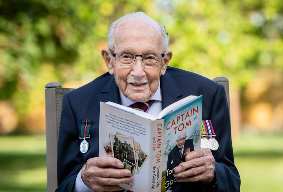 "MILTON KEYNES, ENGLAND - SEPTEMBER 17: Captain Sir Tom Moore poses during a photocall to mark the launch of his memoir ""Tomorrow Will Be A Good Day"" at The Coach House on September 17, 2020 in Milton Keynes, England. (Photo by Samir Hussein/WireImage)"