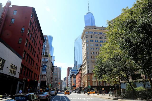 <p>West Broadway near Duane Street in New York City does not have the same view on Sept. 4, 2017, that it had 16 years ago. (Photo: Gordon Donovan/Yahoo News) </p>