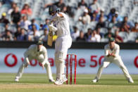 India's Cheteshwar Pujara bats during play on day one of the Boxing Day cricket test between India and Australia at the Melbourne Cricket Ground, Melbourne, Australia, Saturday, Dec. 26, 2020. (AP Photo/Asanka Brendon Ratnayake)