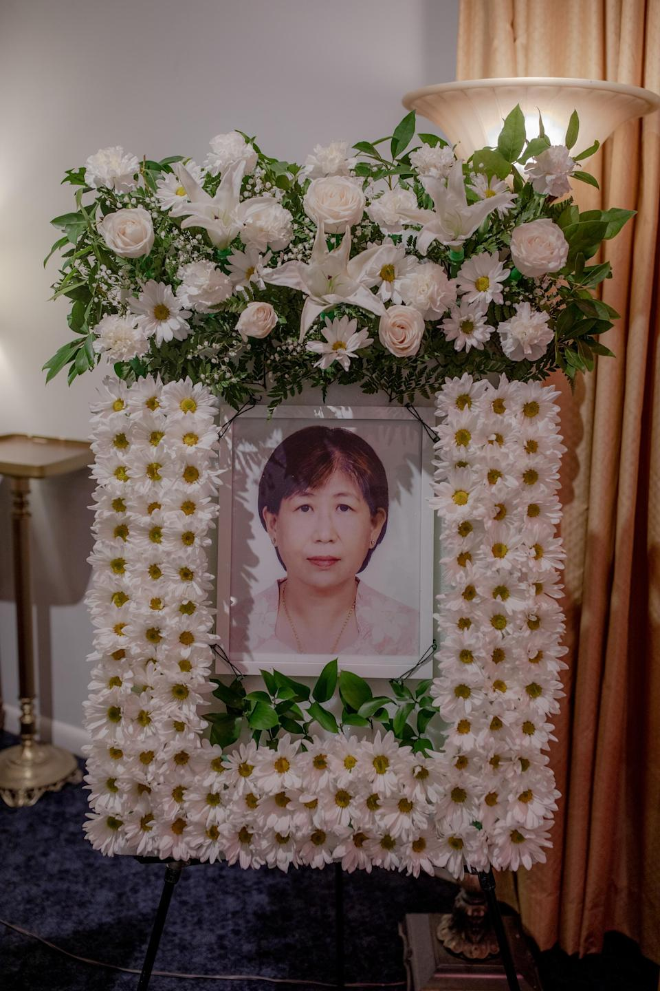 A memorial to Than Than Htwe, an immigrant from Myanmar who was fatally injured in an attack in the New York subway system, at a funeral home in Brooklyn, August 3, 2021. (Natalie Keyssar/The New York Times)