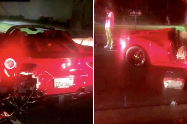 Rapper's son trashes Ferrari