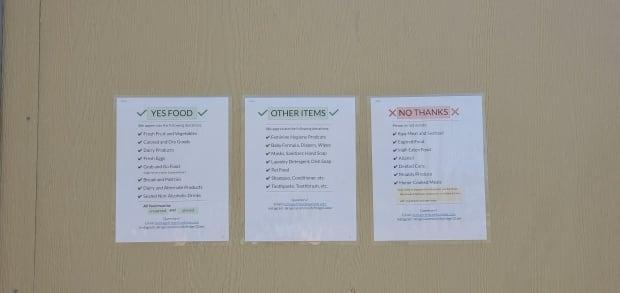 A list of what can and cannot be donated is attached to the community fridge.