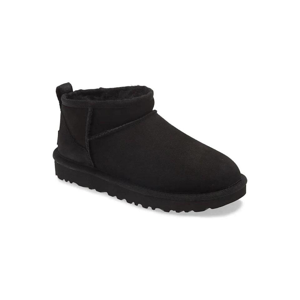"""Surprise the early-aughts mom with this <a href=""""https://www.glamour.com/story/best-uggs?mbid=synd_yahoo_rss"""" rel=""""nofollow noopener"""" target=""""_blank"""" data-ylk=""""slk:fluffy little throwback"""" class=""""link rapid-noclick-resp"""">fluffy little throwback</a>, which also comes in chestnut, grey, and hot pink. $140, Nordstrom. <a href=""""https://www.nordstrom.com/s/ugg-ultra-mini-classic-boot-women/5696657"""" rel=""""nofollow noopener"""" target=""""_blank"""" data-ylk=""""slk:Get it now!"""" class=""""link rapid-noclick-resp"""">Get it now!</a>"""