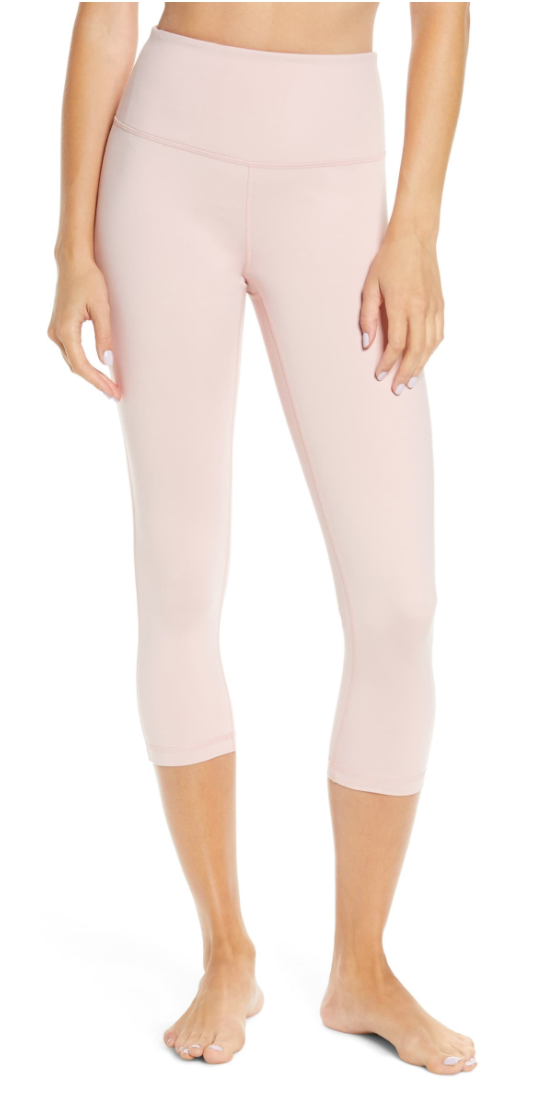 Zella Studio Crop Lite Leggings in Pink/Silver