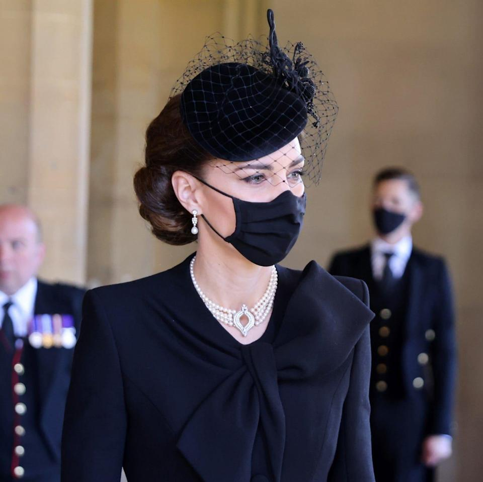 The Duchess of Cambridge wearing a pearl and diamond choker and pearl and diamond earrings, both borrowed from the Queen, at the Duke of Edinburgh's funeral - Chris Jackson/WPA Pool/Getty Images