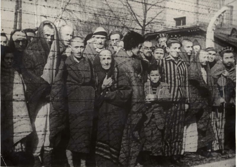 Holocaust survivors stand behind a barbed wire fence after the liberation of Nazi German death camp Auschwitz-Birkenau in 1945 in Nazi-occupied Poland, in this handout picture