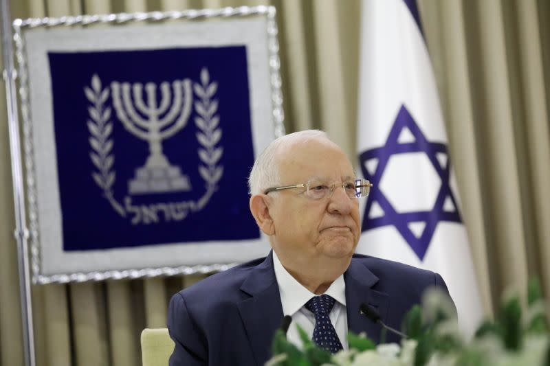 Israeli President Reuven Rivlin looks on during consultations with party representatives on who might form the next coalition government, at the President's residence in Jerusalem
