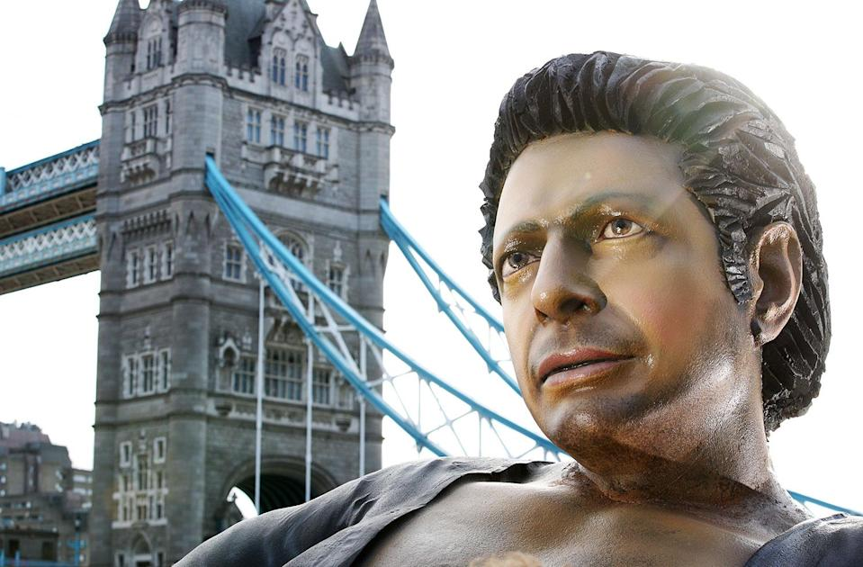 NOW TV recreates Jurassic Park's most famous meme with a 25ft statue of Jeff Goldblum's torso in front of Tower Bridge to mark 25 years since it hit the big screen (Now TV)