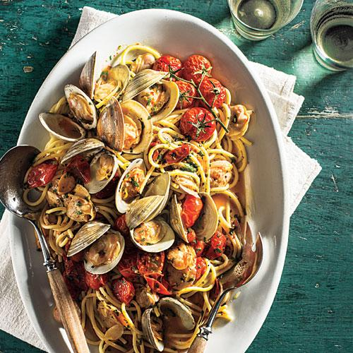 There's no need to travel the world (unless you just want to go!) to enjoy delicious spaghetti dishes. Some of our best recipes include unique ingredients like clams, olives, and poached eggs for dinner dishes that will have family and friends singing your praises.<p>Our first dish is Spaghetti with Clams and Slow-Roasted Cherry Tomatoes. Spaghetti dressed with clams is a Southern Italian classic. The briny liquor released by the clams beautifully coats the noodles, while the little bits of meat get caught up in the tangled strands.</p><p>