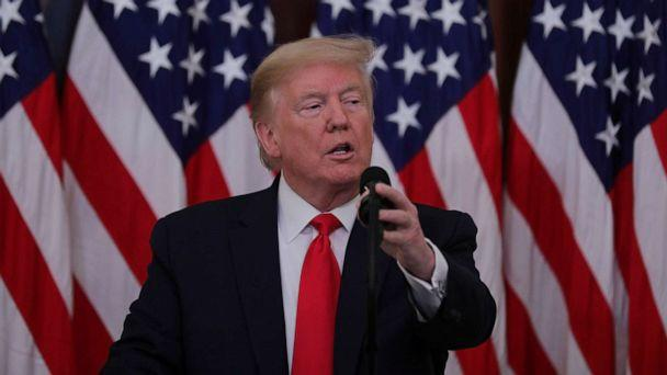 PHOTO: President Donald Trump speaks during a coronavirus response event in the Blue Room at the White House in Washington, May 1, 2020. (Carlos Barria/Reuters)