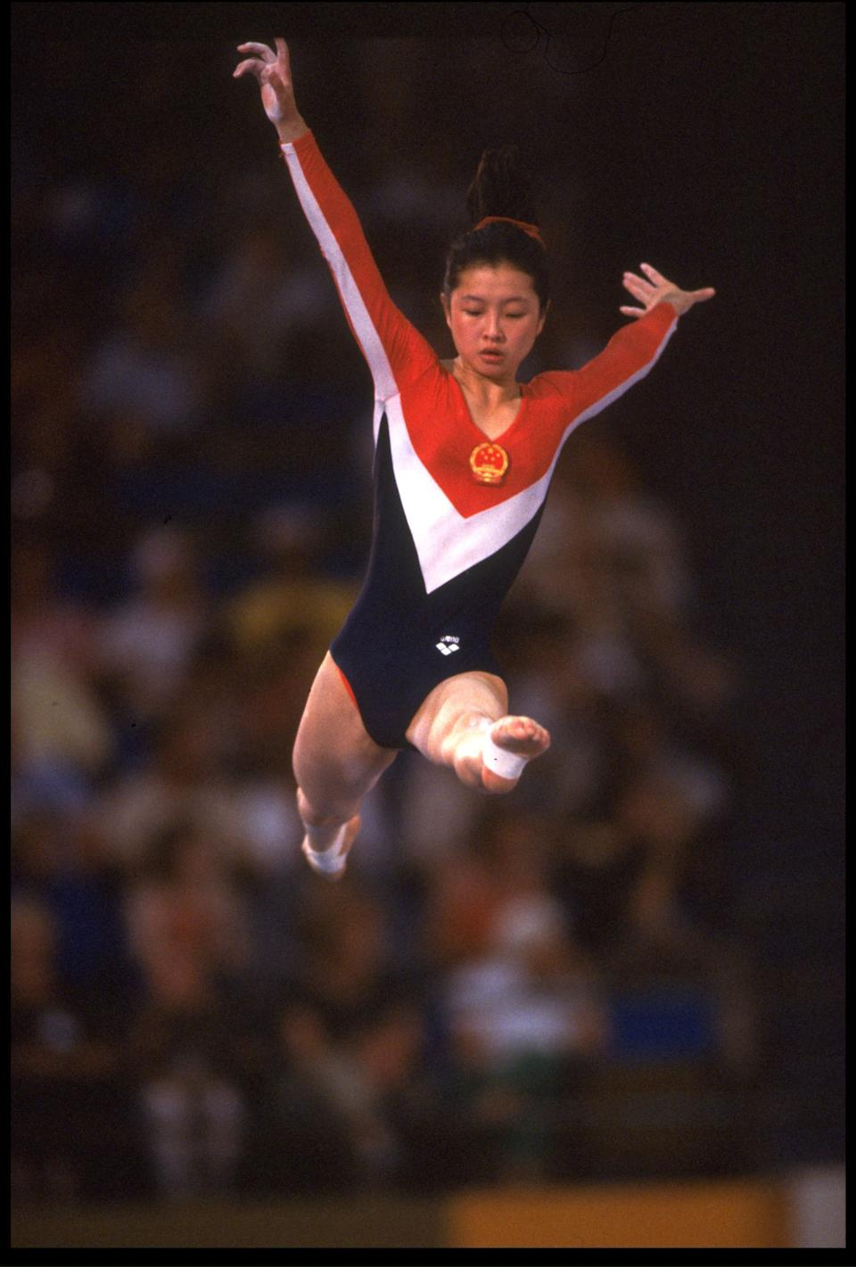 5 AUG 1984: ZHOU PING OF CHINA COMPETES ON THE BALANCE BEAM DURING THE GYMNASTICS AT THE 1984 LOS ANGELES OLYMPICS.