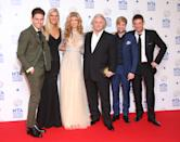 LONDON, ENGLAND - JANUARY 22: Joey Essex, Rebecca Adlington, Amy Willerton, David Emanuel, Kian Egan and Matthew Wright pose in the winners room at the National Television Awards at 02 Arena on January 22, 2014 in London, England. (Photo by Mike Marsland/WireImage)