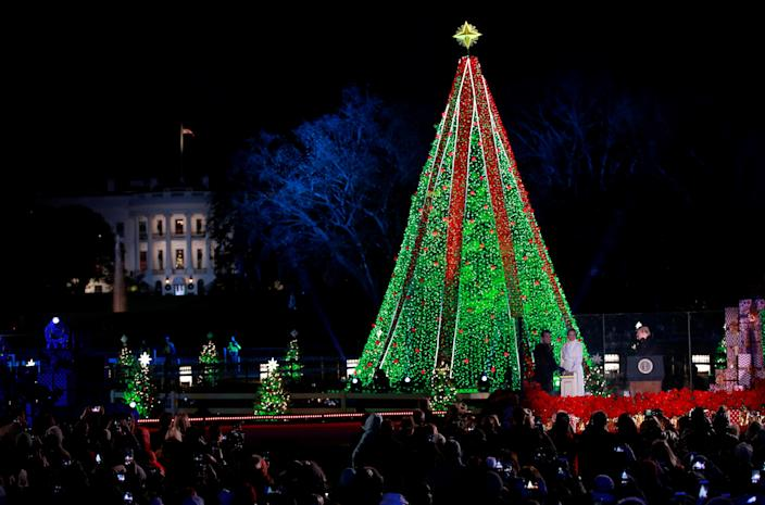 The National Christmas Tree is lighted on Wednesday in Washington. (Photo: Jim Young/Reuters)