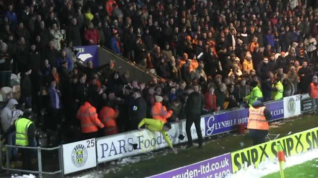 <p>Scottish football fans have snowball fight at St Mirren Park</p>
