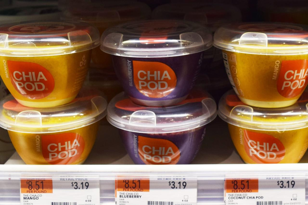 <p>Chia Pods are a filling option for breakfast or a snack that's basically like a jelly-like pudding made from chia seeds reconstituted in coconut milk and/or pureed fruit. </p>