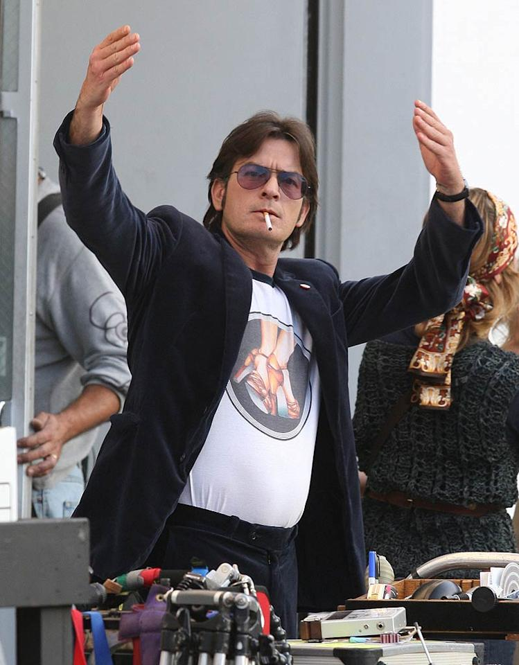 """Charlie Sheen was back at it on Tuesday ... work that is! The 46-year-old actor -- who's had quite the tumultuous year -- is currently shooting the film """"A Glimpse Inside the Mind of Charles Swan III"""" in Hollywood. (11/15/2011)"""