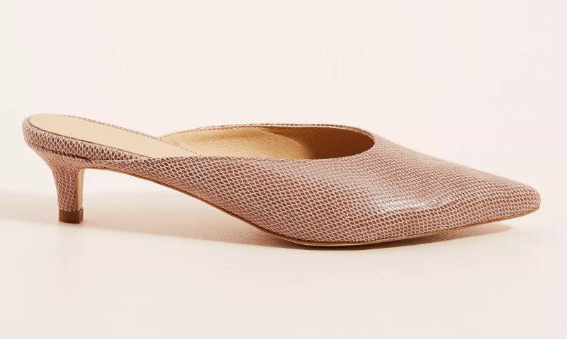 Anthropologie Jenny Kitten-Heeled Mules in Taupe