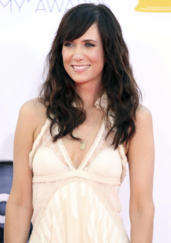 Kristen Wiig arrives at the 64th Primetime Emmy Awards at the Nokia Theatre on Sunday, Sept. 23, 2012, in Los Angeles. (Photo by Matt Sayles/Invision/AP)