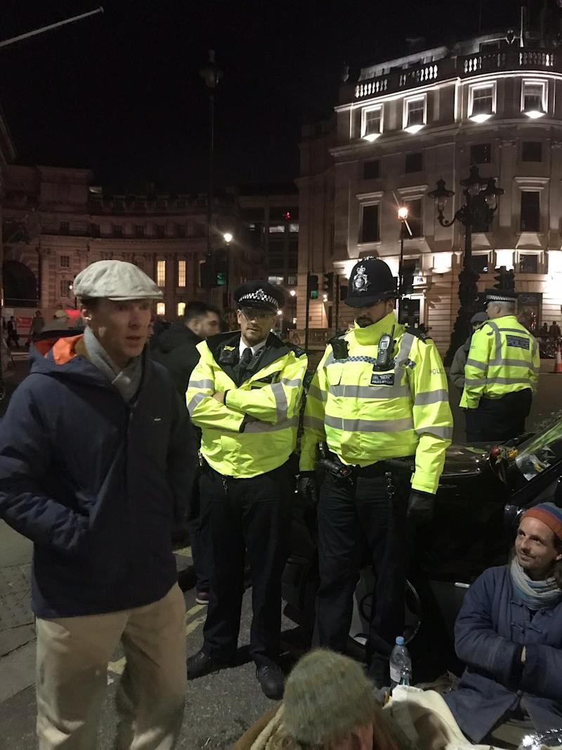 "Sherlock star Cumberbatch is said to have spent a ""good couple of hours"" with the protesters (Extinction Rebellion)"