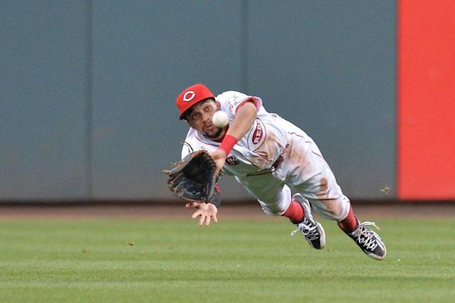 "<a class=""link rapid-noclick-resp"" href=""/mlb/players/9113/"" data-ylk=""slk:Billy Hamilton"">Billy Hamilton</a> is no stranger to highlight reel catches. (Getty)"