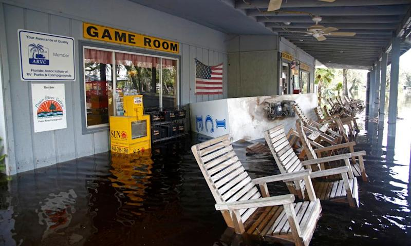 A flooded campground in Arcadia, Florida. Experts says a blow to tourism could have 'a ripple effect' on Florida's economy.