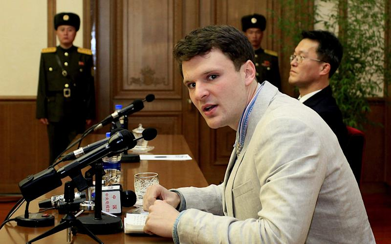 Otto Warmbier at his sentencing in February 2016 - the last time he was seen conscious - Copyright 2017 The Associated Press. All rights reserved.