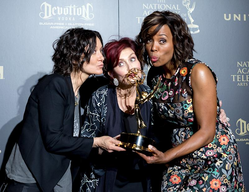 PASADENA, CALIFORNIA - APRIL 30: Sara Gilbert, Sharon Osbourne and Aisha Tyler display their Emmy Award at the 44th Annual Daytime Emmy Awards at Pasadena Civic Auditorium on April 30, 2017 in Pasadena, California. (Photo: Greg Doherty/Getty Images)